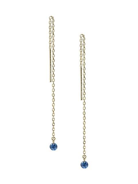 Bombshell 14K Yellow Gold & Sapphire Chain Drop Threader Earrings