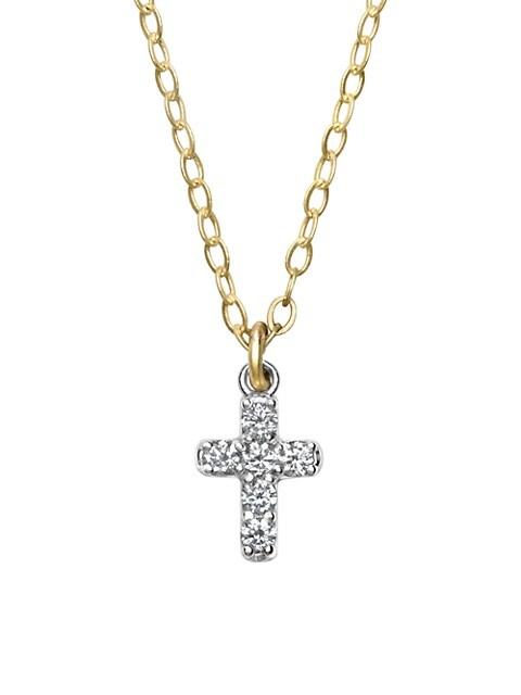 Lois 14K Yellow Gold & Diamond Cross Necklace