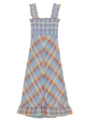 Ganni Seersucker Check Midi Dress Saks Com