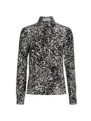 Michael Kors Speckled Crepe De Chine Button Down Shirt