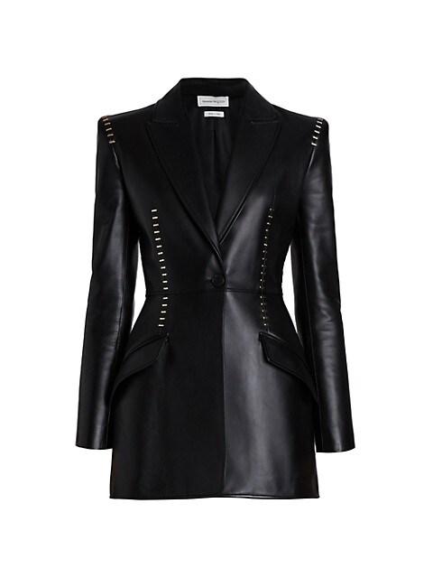 Metal Stitch Leather Blazer Jacket