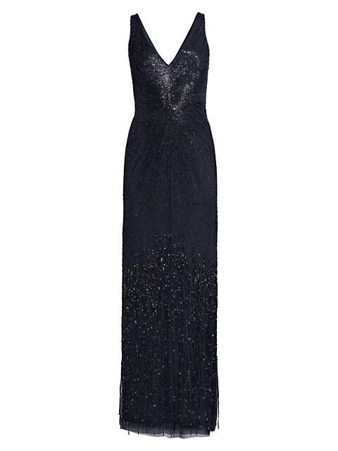 Plunge V-Neck Beaded Gown
