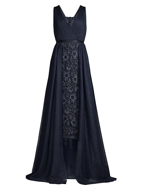 Lace Drape Overlay Midi Dress