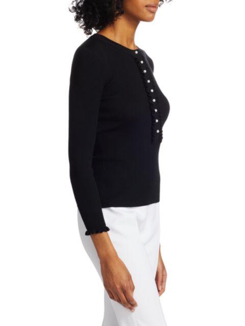 Michael Kors Collection Merino Wool Ruffle Henley Shirt   SaksFifthAvenue