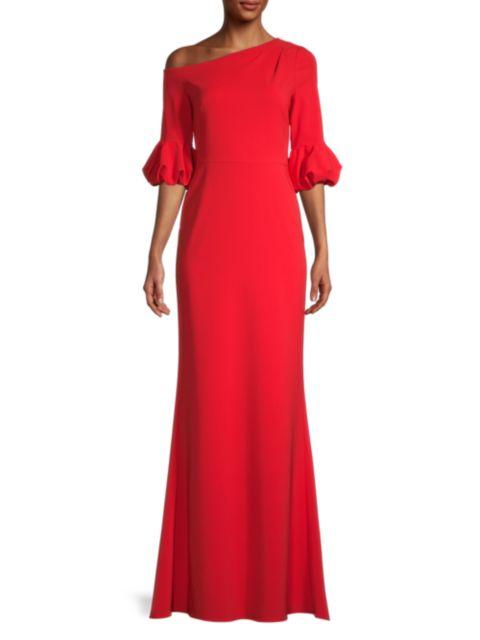 Aidan Mattox Asymmetrical-Sleeve Gown | SaksFifthAvenue