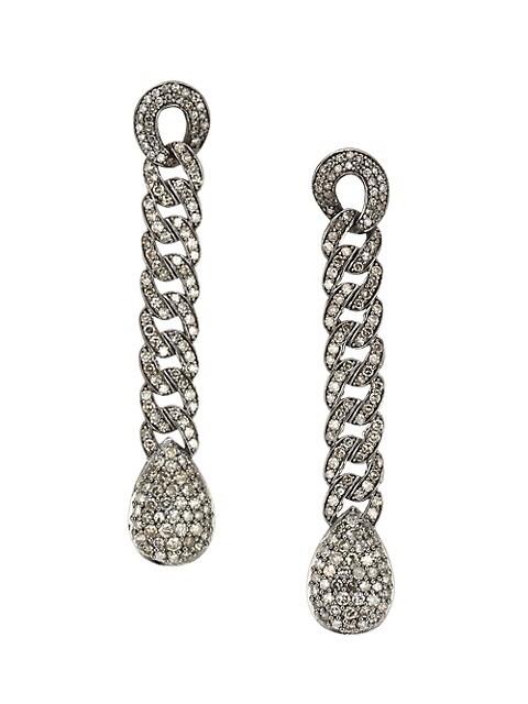 Black Rhodium-Plated & Diamond Chain Drop Earrings