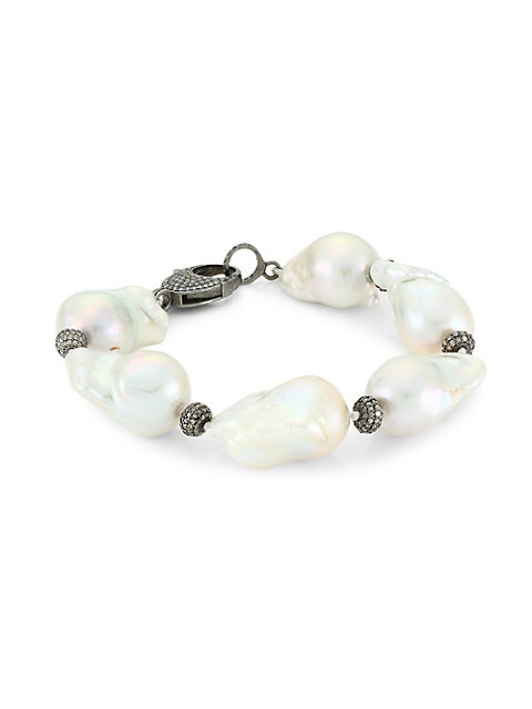 Black Rhodium-Plated, 24MM Freshwater Pearl & Diamond Spacer Bracelet