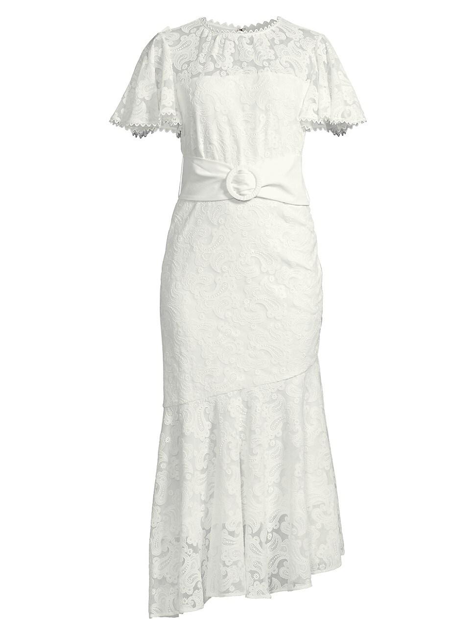 Sachin & Babi Women's Deena Belted Lace Dress In White