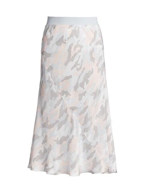 Camouflage Silk Midi Skirt
