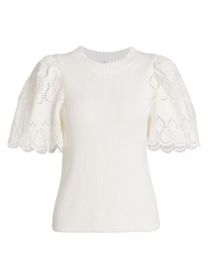 Nadene Lace Eyelet Wool Blend Short Sleeve Sweater