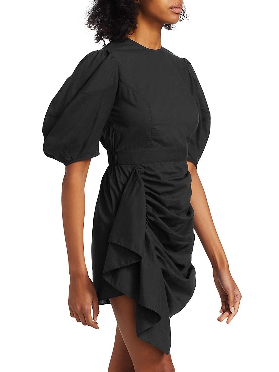 RHODE Cottons WOMEN'S PIA PUFF-SLEEVE RUFFLE MINI DRESS
