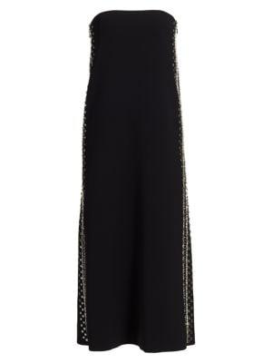Proenza Schouler Embroidered Strapless Midi Dress