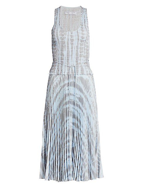 Smocked Pleated Midi Dress