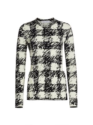 Proenza Schouler White Label Gingham Jacquard Long-Sleeve Top
