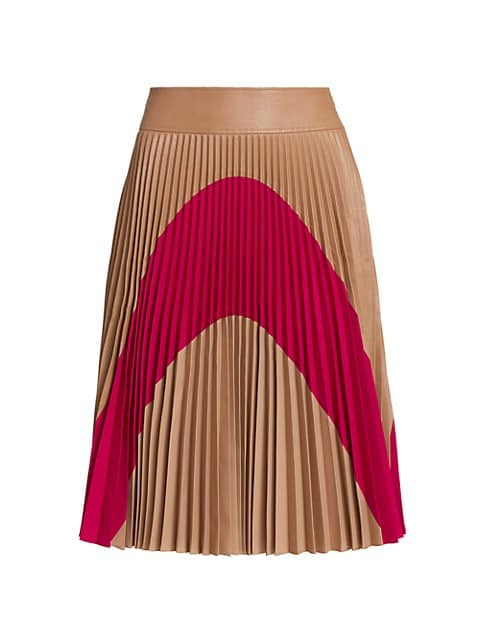 Carmen Colorblocked Pleated Midi Skirt