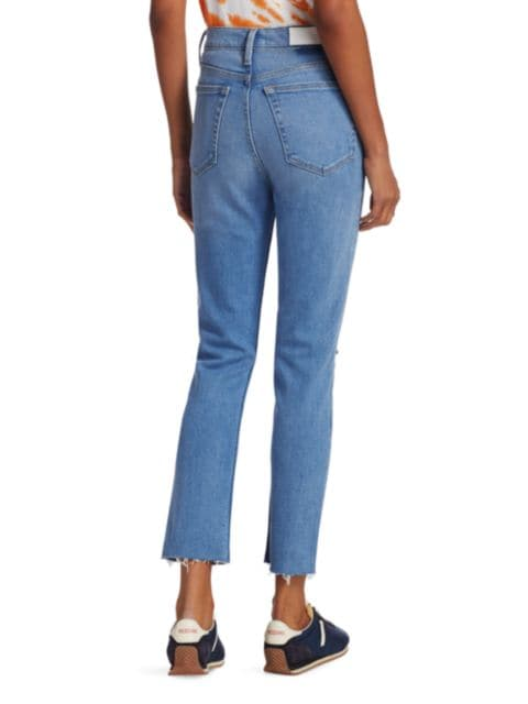 Re/done 90s High-Rise Ankle Crop Distressed Skinny Jeans | SaksFifthAvenue