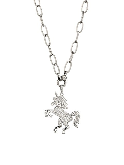 Black Rhodium-Plated & Diamond Horse Pendant Necklace
