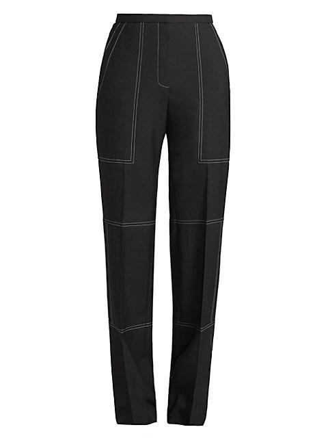 Straight-Leg Wool & Silk Stitch Trousers