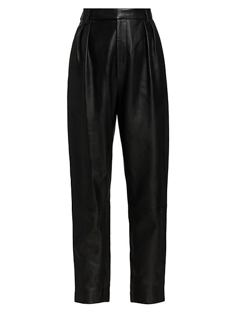 Magdeline Leather High-Rise Pants