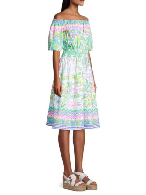 Lilly Pulitzer Camille Off-The-Shoulder Floral Dress   SaksFifthAvenue