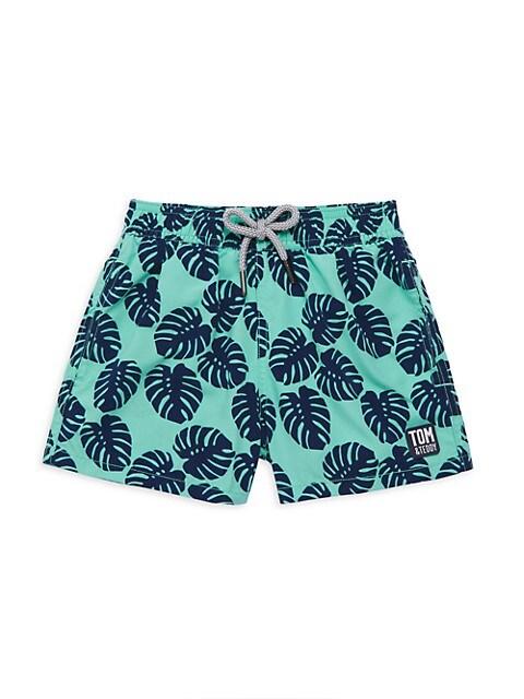 Little Boy's & Boy's Leaf-Print Swim Shorts