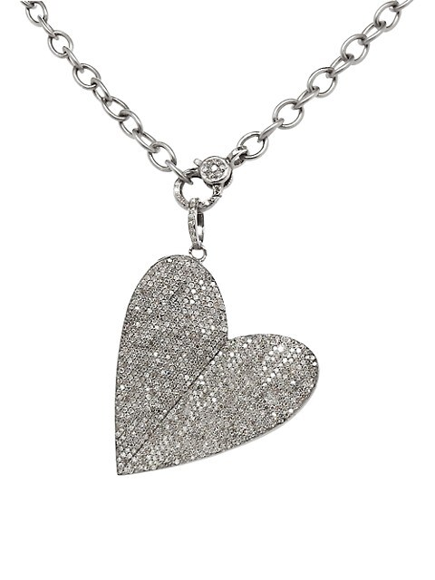 Rhodium-Plated Sterling Silver Diamond Heart Pendant Necklace