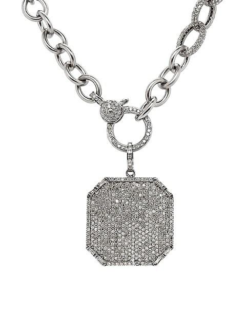 Rhodium-Plated Sterling Silver Diamond Octogonal Pendant Necklace