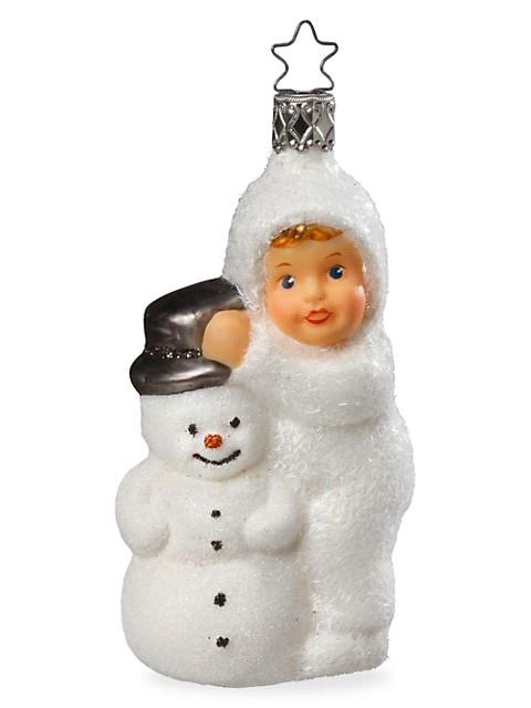Kinder Of Winter Fun Glass Ornament