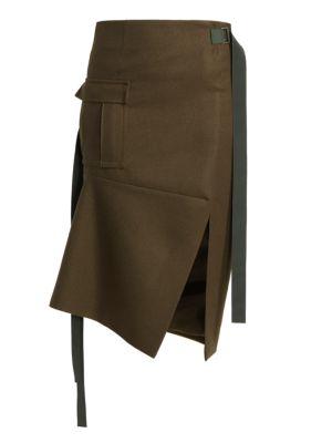 Sacai Wool Melton Asymmetric Skirt
