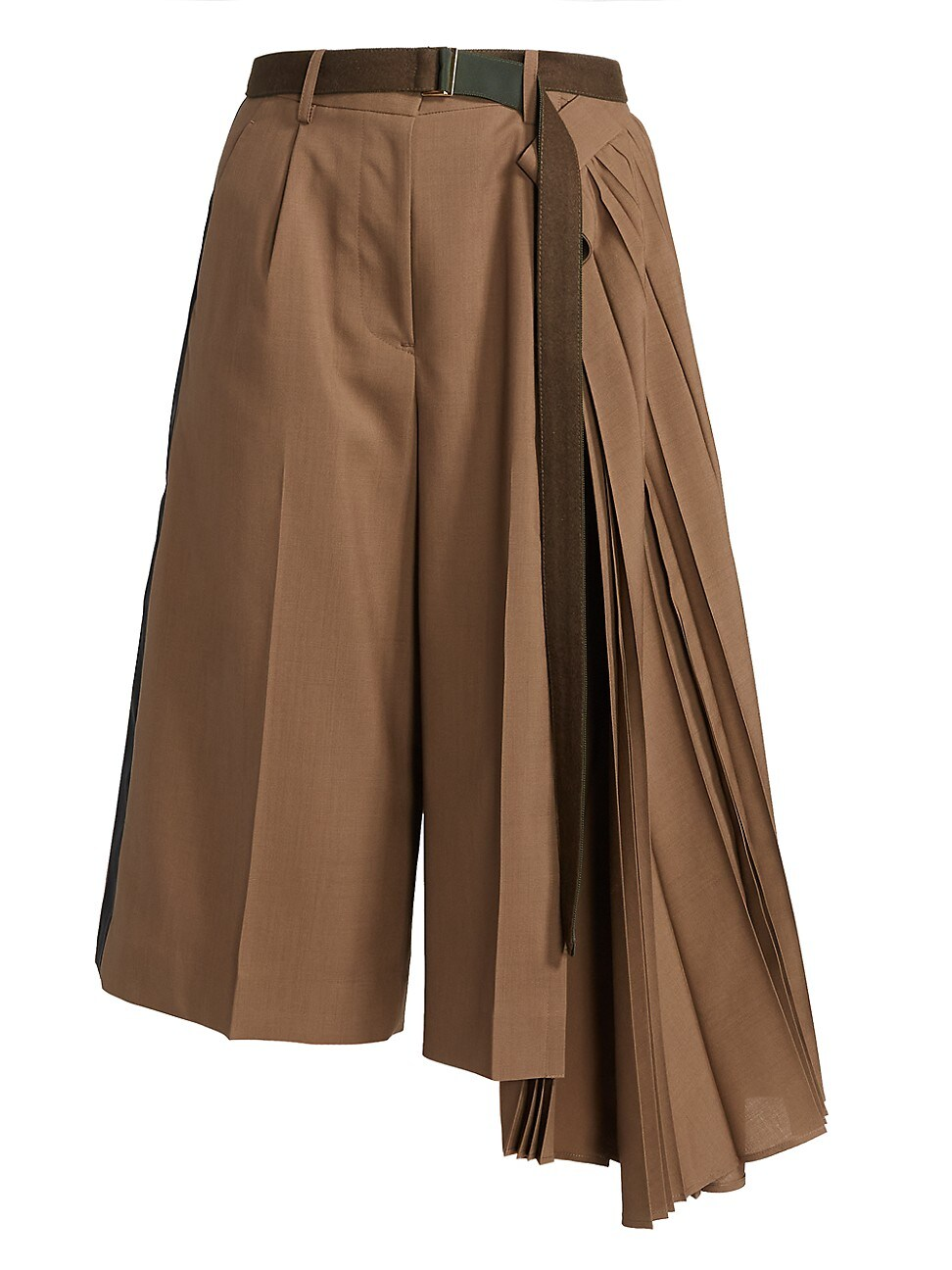 SACAI WOMEN'S CROPPED PLEATED SUITING PANTS