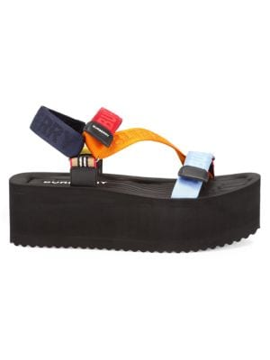 Burberry Leathers Patterson Colorblock Logo Flatform Sport Sandals