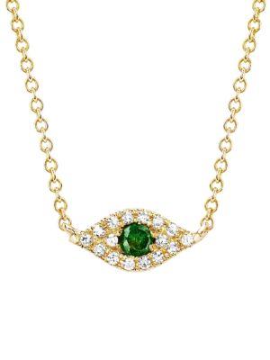 Ef Collection 14K Yellow Gold, Diamond & Tsavorite Evil Eye Pendant Choker Necklace