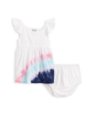 Sea Turtle Tie Dye Baby Girls Short Sleeve Ruffles T-Shirt Tops 2-Pack Cotton Tee