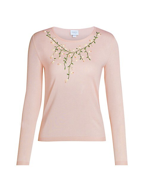Floral Embroidered Cashmere & Silk Knit Sweater