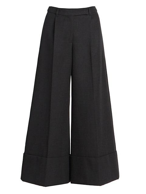 Wide-Leg Wool Twill Trousers