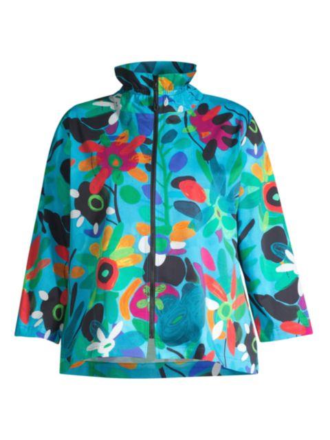 Caroline Rose, Plus Size Bright & Breezy Stretch-Cotton Zip Jacket   SaksFifthAvenue