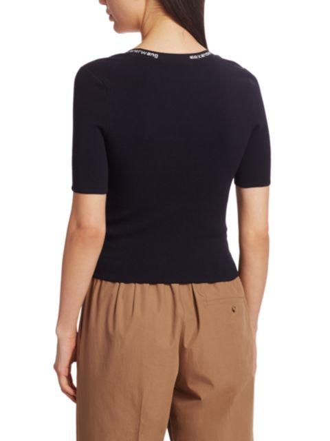 Alexanderwang.t Jacquard Trim Bodycon T-Shirt   SaksFifthAvenue