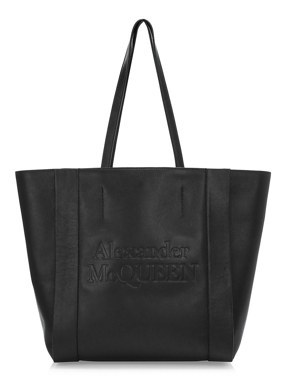 Alexander Mcqueen Women's Signature Shopper Leather Bag In Black