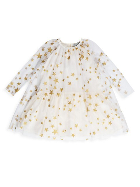 Little Girl's & Girl's Metallic Star Print Dress