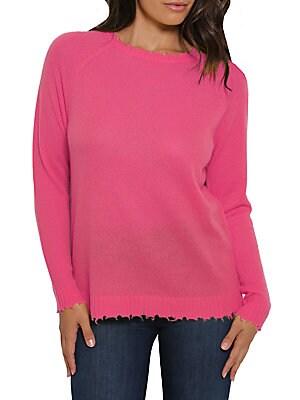 Minnie Rose Minnie Rose Distressed Knit Cashmere Sweater