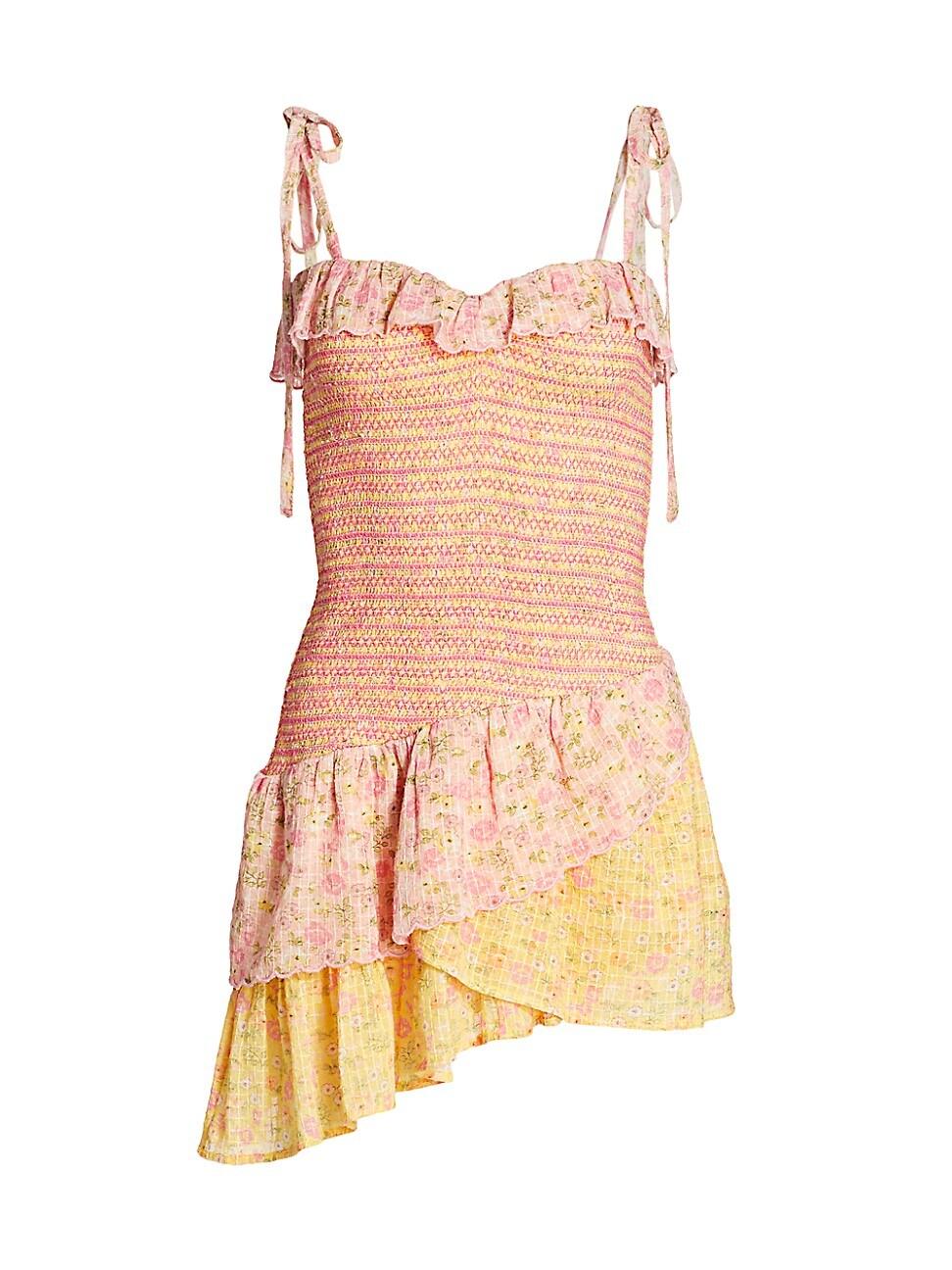 LOVESHACKFANCY WOMEN'S AYA SMOCKED MINI DRESS