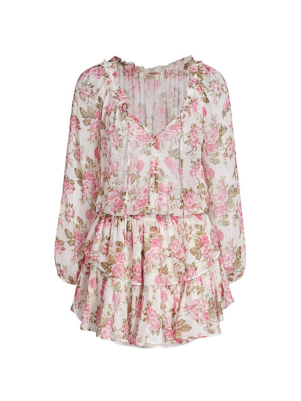 Loveshackfancy Silks WOMEN'S FLORAL SILK POPOVER DRESS
