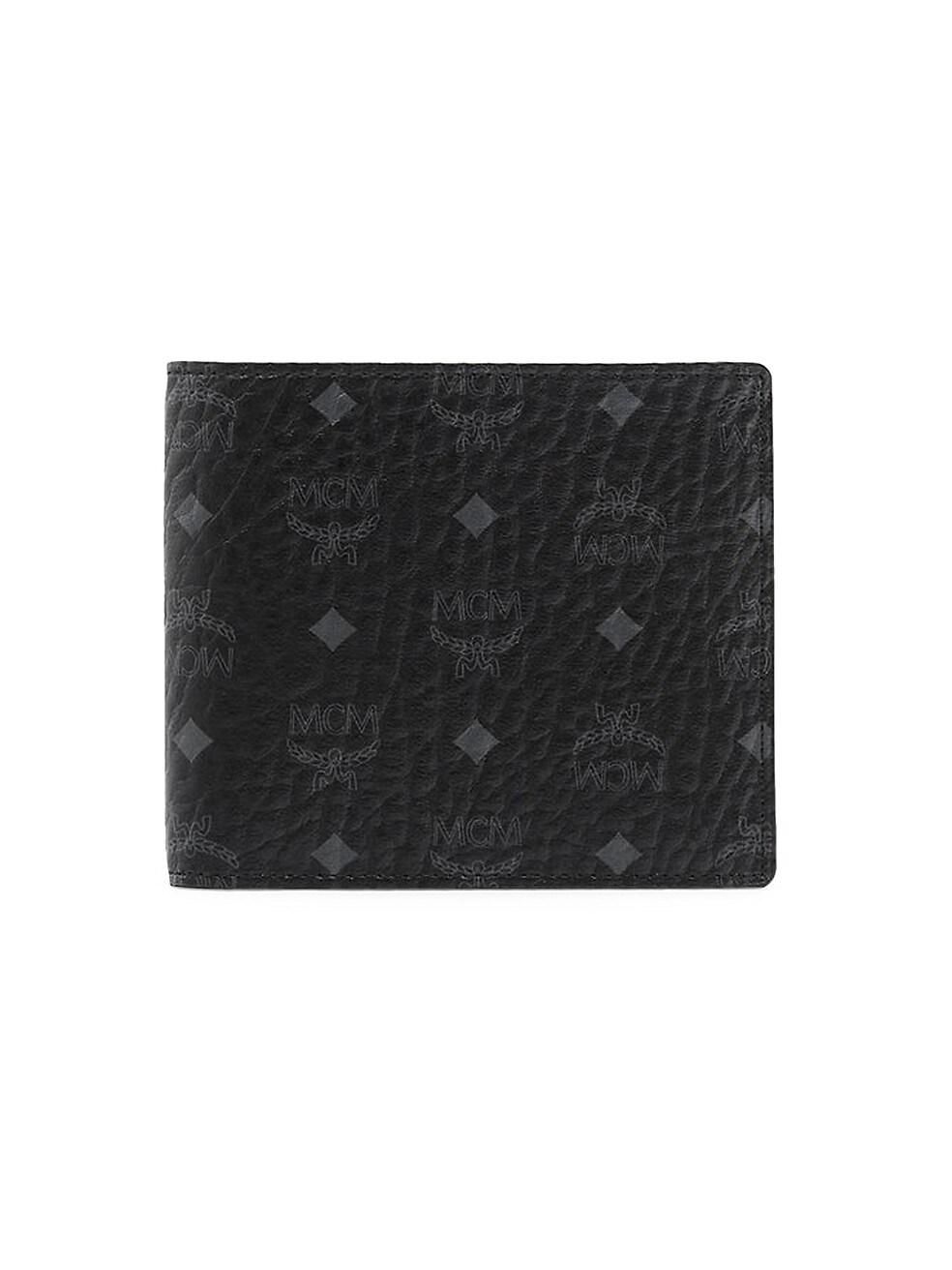 MCM Small Visetos Original Flap Bi-Fold Wallet,BLACK