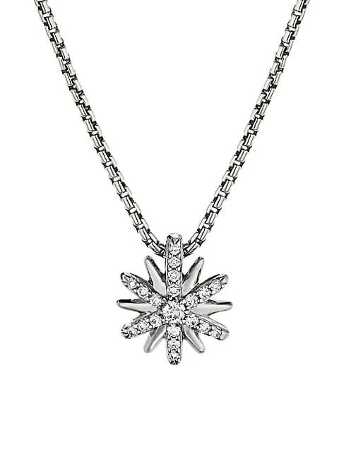 Petite Starburst Station Necklace With Diamonds