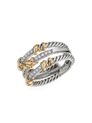 David Yurman Women's Helena 3-station Ring With 18k Yellow Gold & Diamonds In Silver