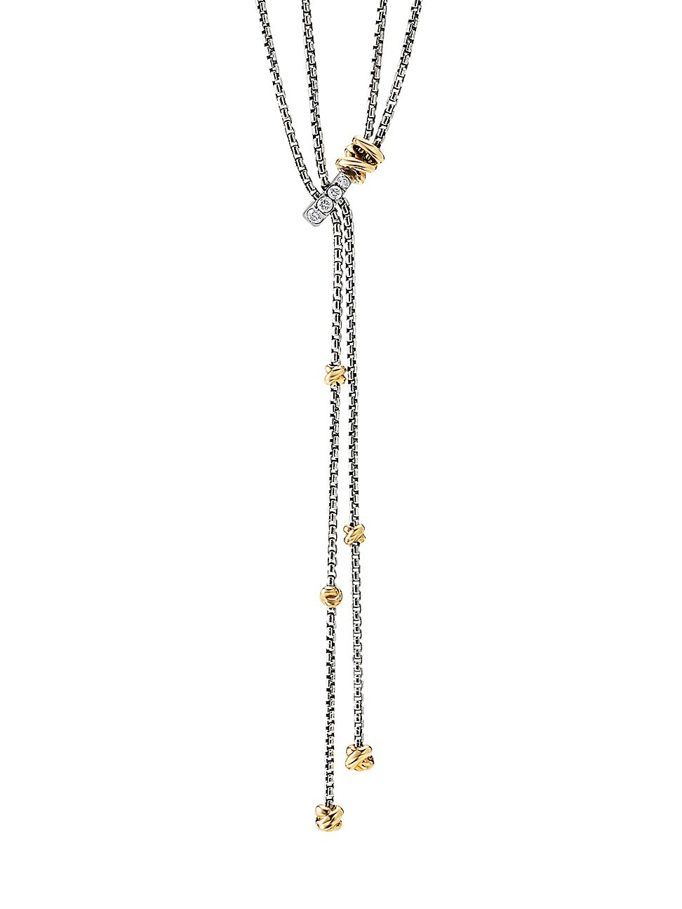 David Yurman WOMEN'S HELENA Y NECKLACE WITH 18K YELLOW GOLD & DIAMONDS