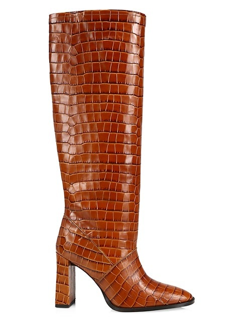 Camilla Tall Croc-Embossed Leather Boots