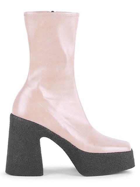 Square-Toe Platform Mid-Calf Boots