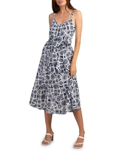 Trina Turk Precious Printed Tie-Waist Midi Dress   SaksFifthAvenue