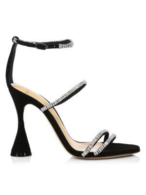 Alexandre Birman Belle Crystal-Embellished Suede Sandals